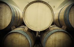 Wine barrels in wine vault. Wine barrels in wine-vaults in order Royalty Free Stock Images