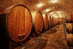 Wine barrels in cellar. Wine barrels in wine-vaults in order Stock Photos