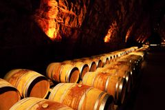 Wine barrels in a winery, France Stock Image
