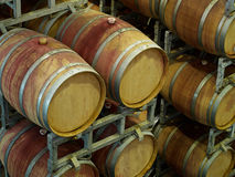 Wine barrels in a winery Stock Image