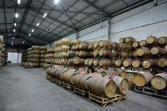 Wine barrels at the winery Santa Rita. Royalty Free Stock Image