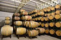 Wine barrels at the winery Viu Manent. Stock Photo