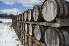 Wine Barrels in Winter Stock Images