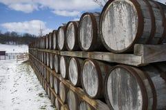 Wine Barrels in Winter Stock Images