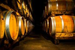 Wine Barrels. Yellow wine barrels in the cellar Stock Photography