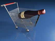 Wine in basket Stock Images