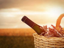 Wine in Basket Stock Photo