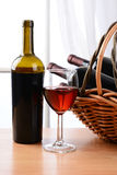 Wine Basket Still Life Stock Photography