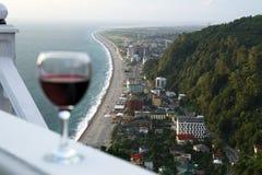 Wine in Batumi. A glass of vine at the hotel balcony, Batumi, Georgia Stock Image