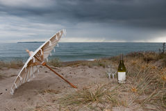 Wine at beach Stock Photo