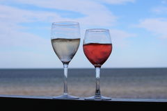 Wine By The Beach Royalty Free Stock Photos
