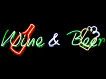 Wine & Beer. Neon sign Royalty Free Stock Photography