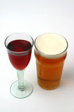 Wine and beer. Filled wine and beer glasses Royalty Free Stock Photography