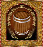 Wine beer banner barrel advertising Stock Image