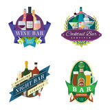 Wine beer bar signs labels badges. Set of vector wine beer cocktail bar logo signs, labels and badges in flat design Stock Photo