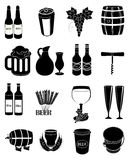 Wine beer icons set Royalty Free Stock Photos