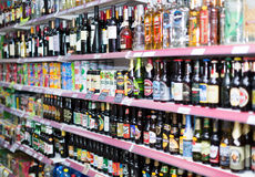 Wine, beer and soft drinks at beverage section Stock Photo