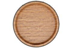 Wine, beer, whiskey, wooden barrel top view of isolation on a white background. 3d illustration. Wine, beer, whiskey, wooden barrel top view of isolation on a royalty free stock image