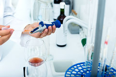 Wine being checked on component saturation in laboratory. Wine being checked on component saturation in chemical laboratory on winery factory Stock Images