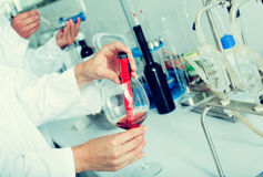 Wine being checked on component saturation in laboratory. On winery factory Stock Photos