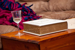 Wine and the Bible Royalty Free Stock Photography