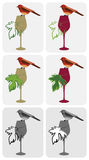 Wine-bird-on-glass Royalty Free Stock Image