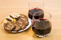 Wine and biscuits. Are on the table Stock Photos