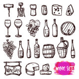 Wine black doodle icons set. Winery farm black doodle pictograms collection for restaurant wine consumption with cheese chasers abstract vector  illustration Royalty Free Stock Images