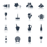 Wine black icons set Stock Photo