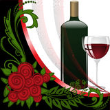 Wine on black and white background Stock Images