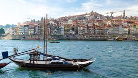 Wine boats on Douro River, old Porto Oporto city, Portugal stock image