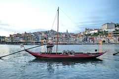 Wine boats on river Douro, Porto, Stock Photos