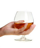 Wine bocal in hand Stock Photo
