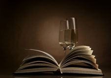 Wine and book. Wine in a glass and book Royalty Free Stock Photo