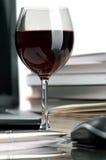 Wine and books Stock Photo
