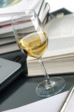Wine and books. The glass with the wine, the opened book and is a lot of books Stock Photos
