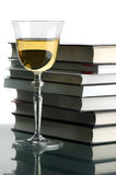 Wine and books. The glass with the wine, the opened book and is a lot of books Stock Photo