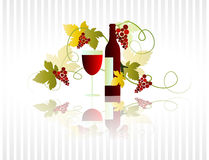 Wine of Bordeaux. Bottle and glass of red wine Stock Image