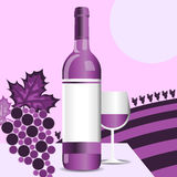 Wine bottle. Glass grapes and vineyard background Royalty Free Stock Image