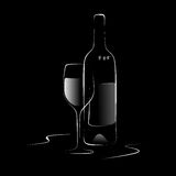 Wine bottle. Abstract illustration of a wine bottle and glass Royalty Free Stock Images