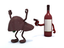 Wine bottle with arms wielding gun to the human live Royalty Free Stock Photography