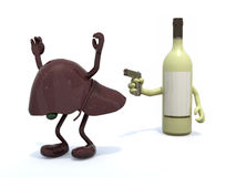 Wine bottle with arms wielding gun to the human live Royalty Free Stock Photo
