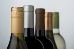 Wine bottle assortment Royalty Free Stock Photos