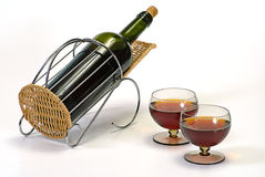 Wine bottle in basket Royalty Free Stock Photography