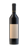 Wine bottle with blank label  on white background Stock Images
