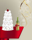 Wine bottle and cake Stock Photography