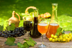 Wine in bottle carafes and glasses. With fresh fruit Royalty Free Stock Photography