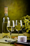 Wine bottle and cheese Royalty Free Stock Photo