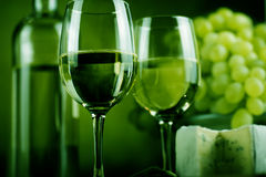 Wine bottle and cheese Royalty Free Stock Images