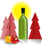 Wine bottle and Christmas tree Stock Photography